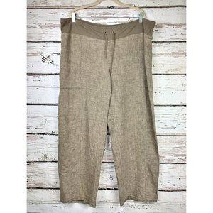 Eileen Fisher Linen Drawstring Waist Wide Leg Pant